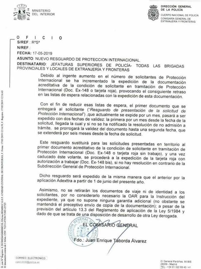 Resguardo proteccion internacional España